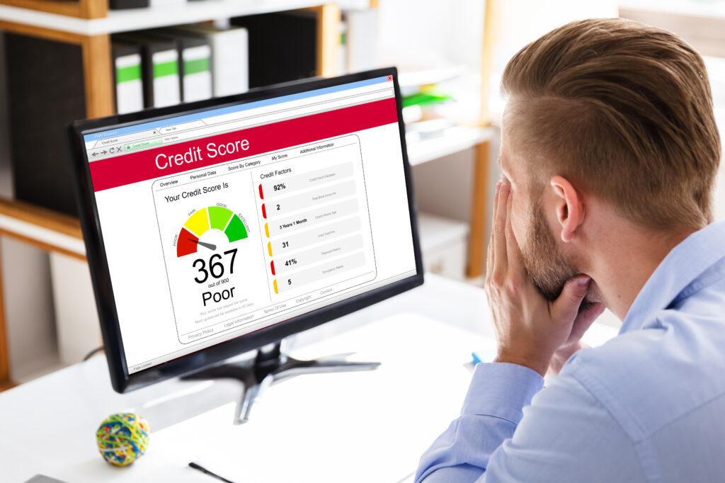 Poor Online Credit Score Rating On Computer