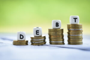 ncreased liabilities from exemption debt consolidation concept of financial crisis and problems risk